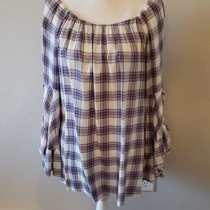 1X Flannel Top w/ Ruffled Bell Sleeves MultiColor